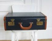 Vintage Black Suitcase, Black Industrial Case, Vintage Black Luggage, Black Storage Case