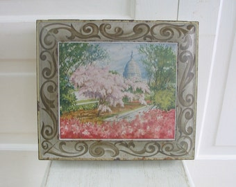 Vintage Metal Biscuit Tin Box Capital Washington DC Flowers Cherry Blossoms