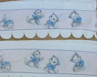 Vintage Nursery Curtains Baby Girl Child Pink Blue Cat Kitten Scalloped