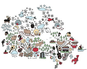 Canadian Map  - Signed Archival Print, by Ani Castillo.