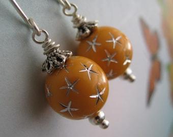 Orange Earrings, Orange and Silver Star Earrings, Tangerine Orange Earrings