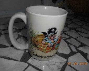 Vintage Guantanamo Bay Pirate Porcelain Large Mug