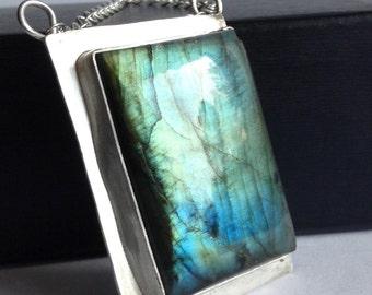 Modern Labradorite Necklace - Modern Minimal Jewelry - 25th Anniversary Gift - Graduation Gift