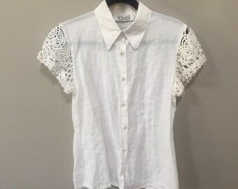 Vintage White Blouse, Open Weave Shoulders, Short Sleeve Blouse, Off White Vintage Blouse, White Linen Blouse, Vintage Spring Blouse S M 90s
