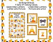 CANDY CORN LETTER Bingo 30 Boards Calling Cards Classroom Party Game Printable Teacher Homeschool Halloween