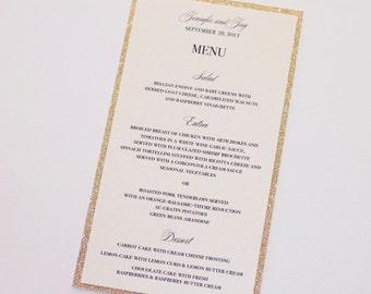 Jennifer Glitter Menu Cards - Wedding Menus - Elegant Menu Cards - Wedding Reception Stationery - Gold Glitter Ivory Sample