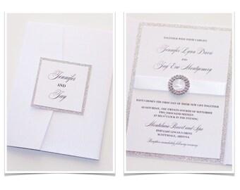 Glitter Wedding Invitation, Elegant Wedding Invitation, Modern Wedding Invitation, White Metallic Silver Glitter - Jennifer Sample