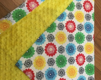 BABY BLANKET - MultiColor Circles with Yellow Minky - Ready to ship
