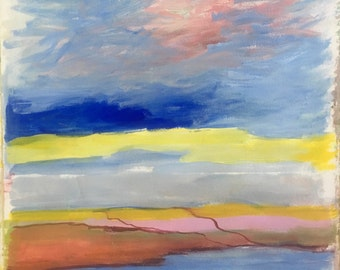 Striped landscape, original oil painting on canson paper