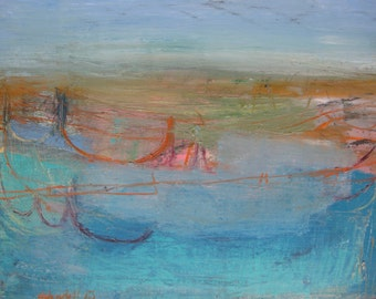 A Blue Landscape, Original abstract painting on linen canvas