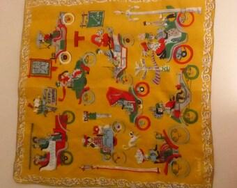 Vintage Mid Century Burmel Gold Handkerchief with Antique Automobiles