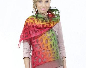 Special felted scarf, felt scarf, nuno, wool, silk, art, nunofelt, RASTA, red yellow green irish tricolour