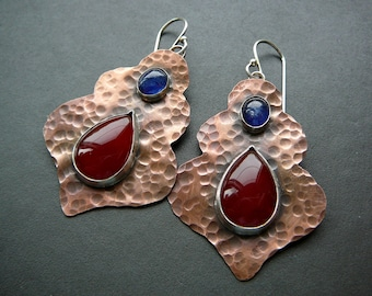 Morrocan earrings - copper, sterling silver , fine silver, red agate and Madagascar blue sapphire