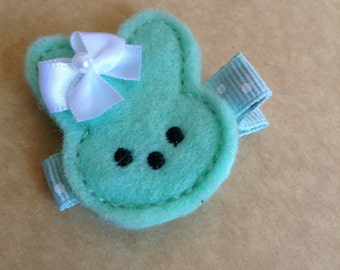 Easter Bunny Hair Clip, Toddlers Hair Clips, Girls Hair Bows, Clippies, Fleties, Easter, Green, Bunny Rabbit, Hair Clip (Item  16-015)