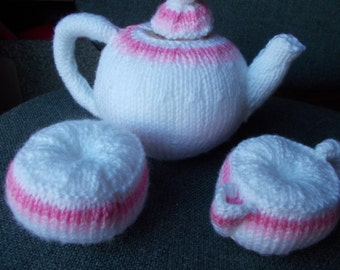 knitted play food  toy tea set, play food, knitted sugar bowl and milk and tea pot