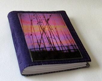 coastal sunset journal - purple waxed canvas mid size journal