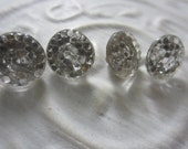 Vintage Buttons - lot of clear mirror hobb nail glass matching novelty small  lot of 4(aug 40b)