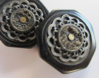 Vintage Buttons - 2 matching large black celluloid with metal  filgree centers, octagon shape  (oct 173)