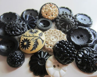 Vintage Buttons - Cottage chic mix of black and off white lot of 21, old and sweet (feb 24)