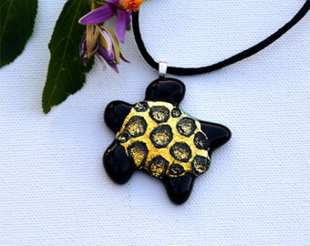 Fused dichroic glass sea turtle pendant, yellow gold sparkle