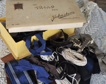 Vintage Lot Ribbon Millinery Grosgrain Striped Moire Woven Jacquard Cording in TRIAD Collectible Johnston's Chocolate Box