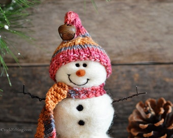 Snowman - handmade - needle felted- one of a kind -  733