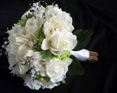 Reserved listing for...kltilley92......Cream/white Silk peonies and Realtouch Rose Bridal Bouquet and Boutonniere Package