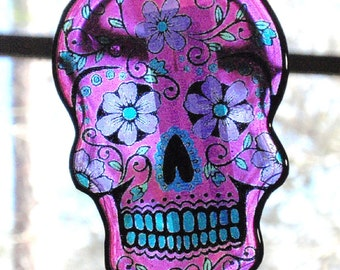 Hot Pink Sugar Skull Acrylic Sun Catcher Day of The Dead Stained Glass Key Chain Decoration Pendant Hangy Thing Christmas Ornament Dangle D1