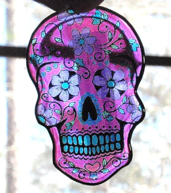 Hot Pink Sugar Skull Acrylic Sun Catcher Day of The Dead