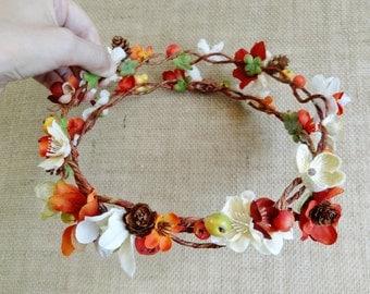 autumn flower crown, fall flower crown, floral crown, fall wedding headpiece, fall headband, bridal headpiece, rustic wedding, burnt orange