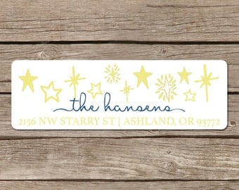 Starry Night Return Address Label Stickers - Self Adhesive