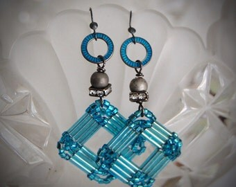 Hip To Be Square-Antique Vintage Beadwork Assemblage Earrings