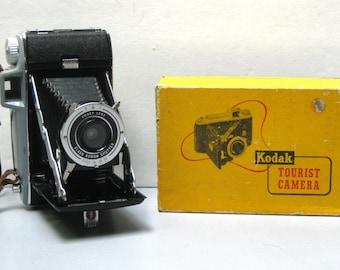 Vintage Kodak Tourist 620 Film Camera with Original Box and Instruction Booklet  1948-1954
