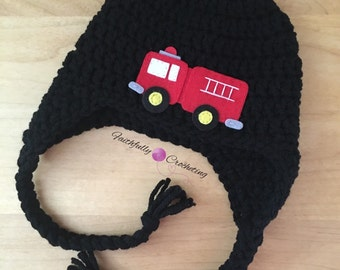 Newborn earflap hat... Fire truck hat.. Photography prop... Ready to ship