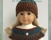Made To Fit American Girl Doll,  Crochet Capelet and Hat, Brown and Teal Tweed, 18 Inch Doll Clothes