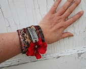 Blessed Upcycled Plaid Flannel Cuff Bracelet// Burgundy Red Cream// 7 inches// emmevielle