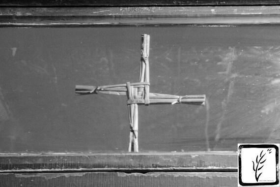 B&W Photograph, fine art, photo print, wall art, home decor, cross, window, St Brigid, Irish, Manhattan, New York, historic, tenement, haiku