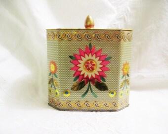 Vintage Tin Box - Lidded Metallic Floral Tin