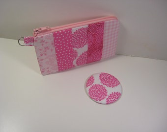 Coin Purse, Pocket Mirror, Mini Glam Pouch, Credit Card Holder, Gift Card Holder, Zipper Pouch, Pinks