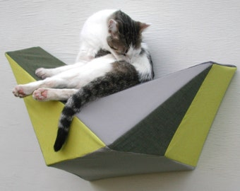 Cat shelf wall bed in chartreuse, olive and greys