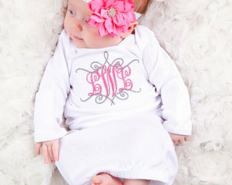 Personalized Baby Girl Gown Mitten Cuffs, Flower Headband  Embroidered  Monogram Newborn Coming Home Outfit Baby Shower Gift Customized