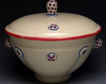 White/Cream Button Ceramic Casserole Dish and Lid, Hand Thrown