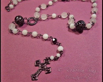 White Gunmetal Rosary-style Cross Y Necklace Czech Glass Beads