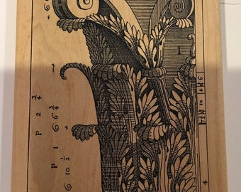 Cornice Wood Mount Rubber Stamp