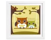 91 Owl Print - Two Owls on Swing Wall Art - Owl Wall Art - Woodland Nursery Decor - Woodland Baby Shower - Owl Drawing - Owl Illustration