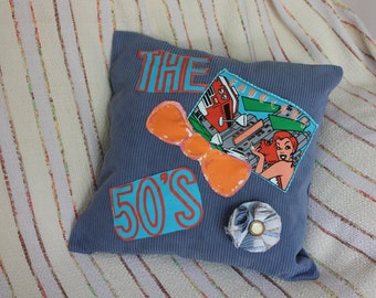 blue fabric pillow cover,ode to the 50's pillow cover,blue pillow cover,The fabulous 50's pillow cover,removable flower brooch,pillow cover