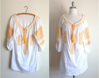 Yellow white cotton peasant blouse / Mexican tunic dress / oversize tunic dress / bohemian embroidered tunic
