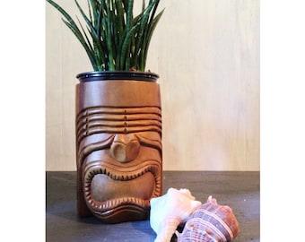 vintage wooden tiki mug or planter