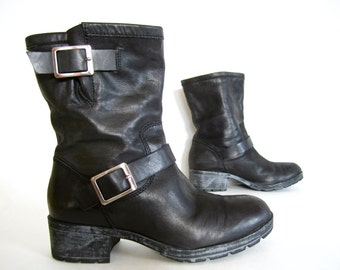 1990s style black leather MOTORCYCLE fashion boots engineer buckle strap BIKER chick ankle SUPER soft womens 7 1/2 unworn faux-distressed