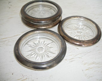 silver and crystal coasters - made in italy - barware drinkware - small bowls set of four - shabby cottage chic